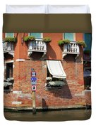 Traffic Signs On The Canal In Venice Italy Duvet Cover