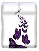 Trail Of The Purple Butterflies Transparent Background Duvet Cover