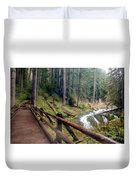 Trail Over Sol Duc Falls Bridge In Olympic National Park Duvet Cover