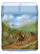 Trail Ride In Sabino Canyon Duvet Cover