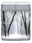 Trail Through The Winter Forest Duvet Cover