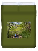 Trail To Waterfall In Vicente Perez Rosales National Park Near Puerto Montt-chile Duvet Cover