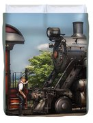 Train - Engine - Alllll Aboard Duvet Cover by Mike Savad