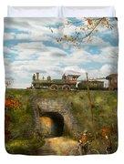 Train - Arlington Nj - Enjoying The Autumn Day - 1890 Duvet Cover