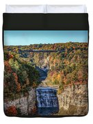 Train Over Letchworth Duvet Cover