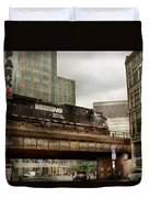Train - Pittsburg Pa - The Industrial City Duvet Cover