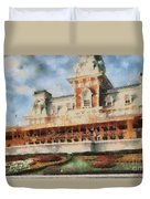 Train Station At Magic Kingdom Duvet Cover