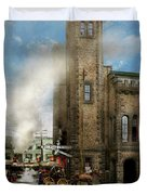 Train Station - Look Out For The Train 1910 Duvet Cover
