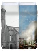 Train Station - Look Out For The Train 1910 - Side By Side Duvet Cover