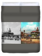 Train Station - Louisville And Nashville Railroad 1912- Side By Duvet Cover