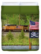 Train The Flags Duvet Cover