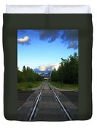 Train Tracks Anchorage Alaska Duvet Cover
