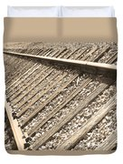 Train Tracks Sepia Triangular  Duvet Cover