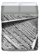 Train Tracks Triangular In Black And White Duvet Cover
