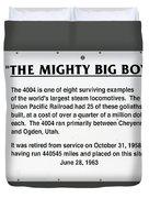 Trains Mighty Big Boy Signage Duvet Cover