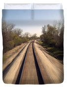 Trains Power Approaching The Crossing Duvet Cover