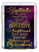 Traits Of A Sagittarius Duvet Cover