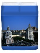 Trajan's Column Church Of Santa Maria Di Loreto Church Of Our Lady Giclee Rome Italy Duvet Cover