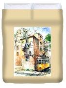 Tram In Lisboa Duvet Cover
