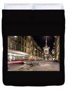 Tram Rushes In The Street Of Bern Duvet Cover