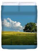 Tranquil Solitude Billowing Clouds Oak Tree Field Art Duvet Cover