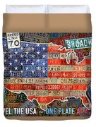 Travel The Usa One Plate At A Time License Plate Art By Design Turnpike Duvet Cover