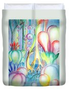 Travel To Planet Of Ball-shaped Flowers Duvet Cover