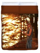 Traveler Woman In The Forest Duvet Cover