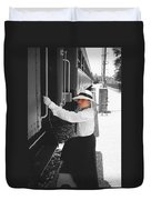 Traveling By Train - Black And White Focal Duvet Cover