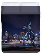 Traveling Man Stepping Out After Dark Duvet Cover