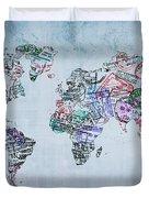 Traveler World Map Duvet Cover