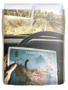 Travelling Tourist With Map Of Tasmania Duvet Cover