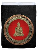 Treasure Trove - Gold Buddha On Black Velvet Duvet Cover