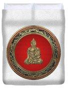 Treasure Trove - Gold Buddha On White Leather Duvet Cover