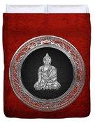 Treasure Trove - Silver Buddha On Red Velvet Duvet Cover