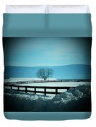 Tree And Fence In Snow Duvet Cover
