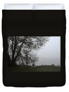 Tree And Moored Boat Duvet Cover