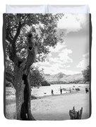 Tree And People By The Lake Duvet Cover