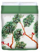Tree And Red Birds 2 Duvet Cover