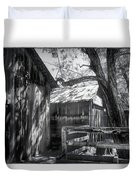 Tree And The Barn Duvet Cover