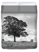 Tree And The Cage Tower In The Distance In Lyme Park Estate In B Duvet Cover