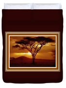 Tree At Sunset. L B With Decorative Ornate Printed Frame. Duvet Cover