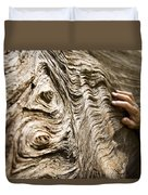 Tree Bark And Hand Duvet Cover