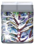 Tree Branches Covered By Snow In Winter Duvet Cover