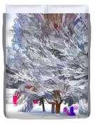 Tree Branches Covered By Snow  Duvet Cover