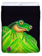 Tree Frog On A Leaf With Lady Bug Duvet Cover