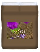 Tree Frog Under Flower Duvet Cover