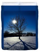 Tree Into Sun On A Winter Snowy Afternoon Duvet Cover