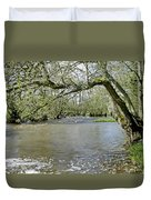 Tree-lined - Swollen River Dove At Thorpe Duvet Cover
