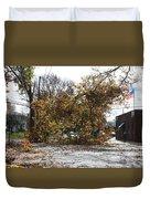 Tree Meets Hurricane Sandy By The Fair Lawn Nj Post Office Duvet Cover